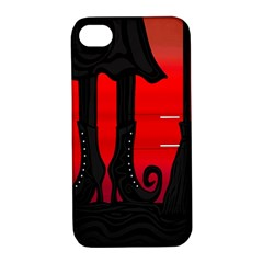 Halloween black witch Apple iPhone 4/4S Hardshell Case with Stand