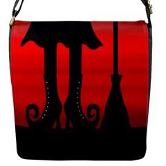 Halloween black witch Flap Messenger Bag (S)