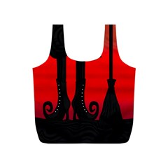 Halloween black witch Full Print Recycle Bags (S)