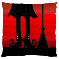 Halloween black witch Standard Flano Cushion Case (Two Sides)