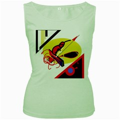 Abstract Art Women s Green Tank Top