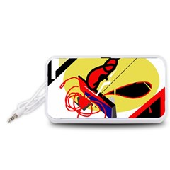 Abstract art Portable Speaker (White)