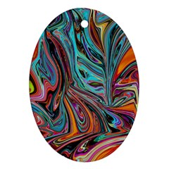 Brilliant Abstract In Blue, Orange, Purple, And Lime Green  Ornament (oval)