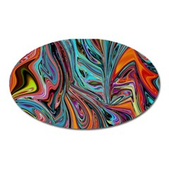 Brilliant Abstract In Blue, Orange, Purple, And Lime Green  Oval Magnet