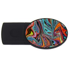 Brilliant Abstract in Blue, Orange, Purple, and Lime-Green  USB Flash Drive Oval (2 GB)