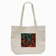 Brilliant Abstract in Blue, Orange, Purple, and Lime-Green  Tote Bag (Cream)