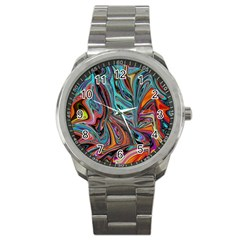Brilliant Abstract In Blue, Orange, Purple, And Lime Green  Sport Metal Watch