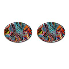 Brilliant Abstract In Blue, Orange, Purple, And Lime Green  Cufflinks (oval)
