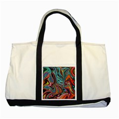 Brilliant Abstract In Blue, Orange, Purple, And Lime Green  Two Tone Tote Bag