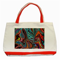 Brilliant Abstract in Blue, Orange, Purple, and Lime-Green  Classic Tote Bag (Red)