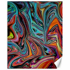 Brilliant Abstract in Blue, Orange, Purple, and Lime-Green  Canvas 16  x 20