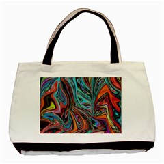 Brilliant Abstract In Blue, Orange, Purple, And Lime Green  Basic Tote Bag (two Sides)