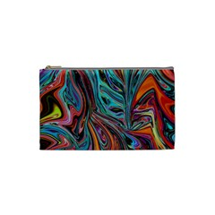 Brilliant Abstract In Blue, Orange, Purple, And Lime Green  Cosmetic Bag (small)
