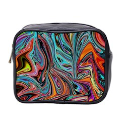 Brilliant Abstract In Blue, Orange, Purple, And Lime Green  Mini Toiletries Bag 2 Side