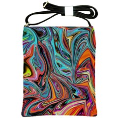 Brilliant Abstract In Blue, Orange, Purple, And Lime Green  Shoulder Sling Bags