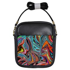 Brilliant Abstract in Blue, Orange, Purple, and Lime-Green  Girls Sling Bags