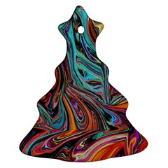 Brilliant Abstract In Blue, Orange, Purple, And Lime Green  Christmas Tree Ornament (2 Sides)