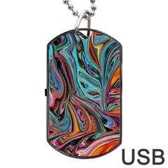 Brilliant Abstract in Blue, Orange, Purple, and Lime-Green  Dog Tag USB Flash (One Side)