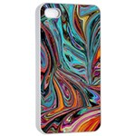 Brilliant Abstract in Blue, Orange, Purple, and Lime-Green  Apple iPhone 4/4s Seamless Case (White) Front