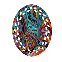 Brilliant Abstract In Blue, Orange, Purple, And Lime Green  Ornament (oval Filigree)