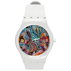 Brilliant Abstract In Blue, Orange, Purple, And Lime Green  Round Plastic Sport Watch (m)