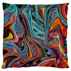 Brilliant Abstract in Blue, Orange, Purple, and Lime-Green  Large Cushion Case (One Side)