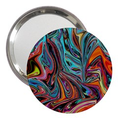 Brilliant Abstract In Blue, Orange, Purple, And Lime Green  3  Handbag Mirrors