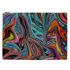 Brilliant Abstract In Blue, Orange, Purple, And Lime Green  Cosmetic Bag (xxl)