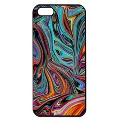 Brilliant Abstract In Blue, Orange, Purple, And Lime Green  Apple Iphone 5 Seamless Case (black)
