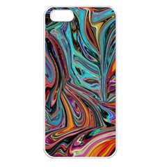 Brilliant Abstract In Blue, Orange, Purple, And Lime Green  Apple Iphone 5 Seamless Case (white)
