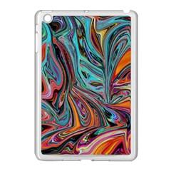 Brilliant Abstract in Blue, Orange, Purple, and Lime-Green  Apple iPad Mini Case (White)