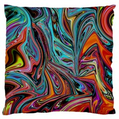 Brilliant Abstract In Blue, Orange, Purple, And Lime Green  Large Flano Cushion Case (one Side)