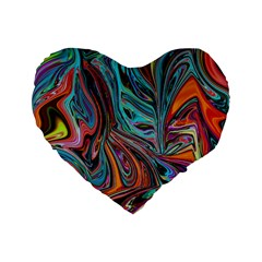 Brilliant Abstract in Blue, Orange, Purple, and Lime-Green  Standard 16  Premium Flano Heart Shape Cushions