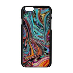 Brilliant Abstract in Blue, Orange, Purple, and Lime-Green  Apple iPhone 6/6S Black Enamel Case
