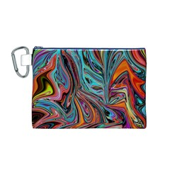Brilliant Abstract In Blue, Orange, Purple, And Lime Green  Canvas Cosmetic Bag (m)
