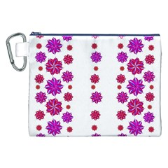 Vertical Stripes Floral Pattern Collage Canvas Cosmetic Bag (XXL)