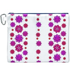 Vertical Stripes Floral Pattern Collage Canvas Cosmetic Bag (XXXL)