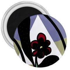 Black flower 3  Magnets