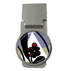 Black flower Money Clips (Round)