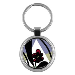 Black flower Key Chains (Round)