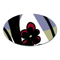 Black flower Oval Magnet