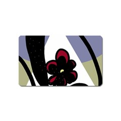 Black flower Magnet (Name Card)