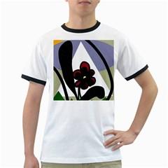 Black flower Ringer T-Shirts