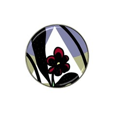 Black flower Hat Clip Ball Marker