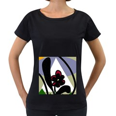 Black flower Women s Loose-Fit T-Shirt (Black)