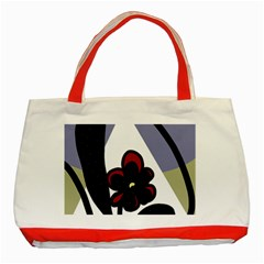 Black flower Classic Tote Bag (Red)