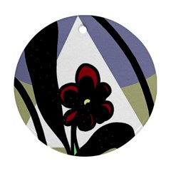 Black flower Round Ornament (Two Sides)