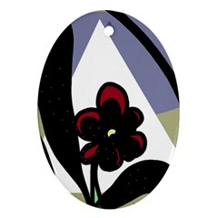 Black flower Oval Ornament (Two Sides)