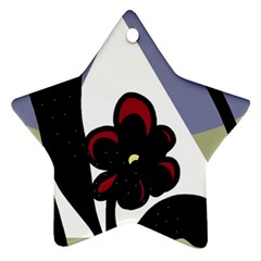 Black flower Star Ornament (Two Sides)