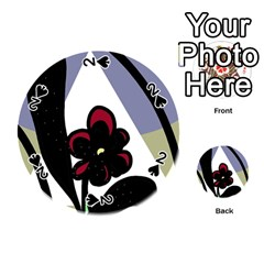 Black flower Playing Cards 54 (Round)